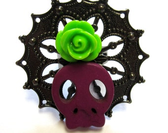 Sugar Skull Ring Day Of The Dead Jewelry Purple Zombie Queen