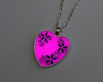 Pink Glowing Heart Pendant - Bridesmaid Gift - Wife Gift - Glow in the Dark Jewelry - Gift for Women - Gifts for Her - Teens Gift