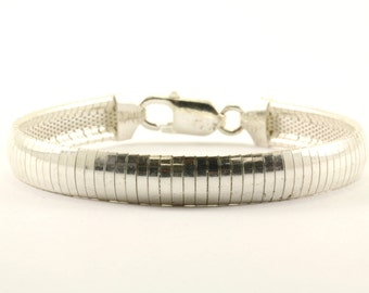 Vintage Italy Omega Style Chain Bracelet 925 Sterling BR 1581