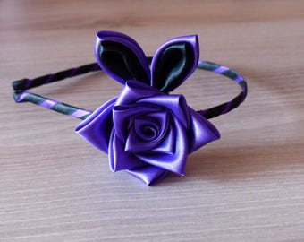 Headband flower rose and leaves in purple and black satin
