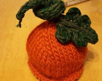Pumpkin Patch Newborn hat, pumpkin baby hat, newborn knit pumpkin hat, baby pumpkin