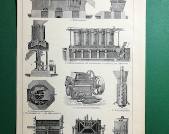 Sugar Fabrication, original old print from an old german book, 1895