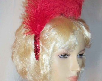 Red French Plume Feathers and Sequin Trim Showgirl Costume All Occasion Headband Headpiece