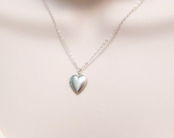 Dainty Heart Locket Necklace, Small Locket Tiny Picture, Friendship, Long Sterling Silver Necklace, Keepsake Jewelry, Gift for Women