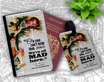 We All Mad Here Cheshire Cat Alice Wonderland Passport Holder Flip Cover Case And Luggage Tag
