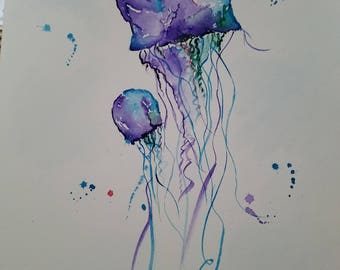 Original watercolor jellyfish painting. Approx 11x15