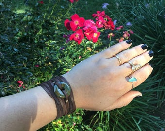 Turquoise and Deerskin Leather Wrap