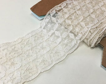"4.0 m / 4.4 yds — VINTAGE / ANTIQUE french corded tulle lace trim — ivory — cotton / synthetic — 53 mm / 2 1/8"" wide"