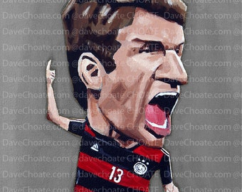 Thomas Muller, German  World Cup Soccer Art Photo Print