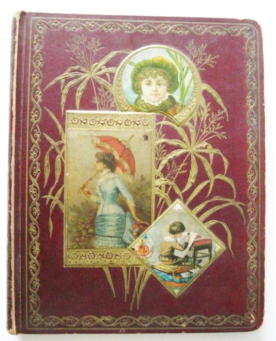 Victorian Scrapbook Album Covers Original Antique 1876 Scrap