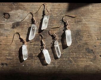 Clear Quartz Earring • Gemstone Earring • Dainty Gemstone Jewelry • Wiccan Jewelry • Healing Gemstone • Rose Gold Earring • Drop Earring