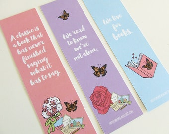 Pastel Bookmark Collection (w/ quotes about reading) - 3 Bookmarks