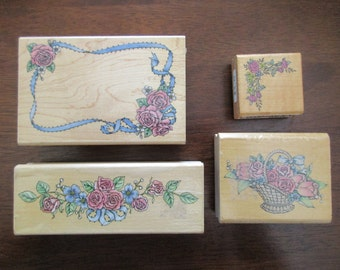4 rubber stamps on wood - floral, rose, garland, basket. border, Rubber Stampede