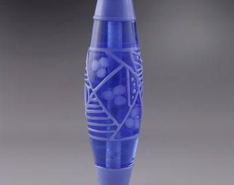 SRA Handmade Art Bead Lampwork Glass Bead Artisan Lampwork Bead Perinkle Blue Floral Bicone Focal Bead OOAK Art Deco Heather Behrendt 3555