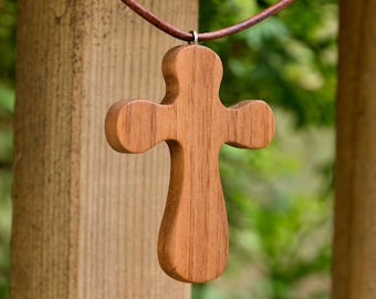 wooden cross necklace - scroll saw solid reclaimed Honduras Mahogany wood, baptism gift, confirmation gift, Christian necklace