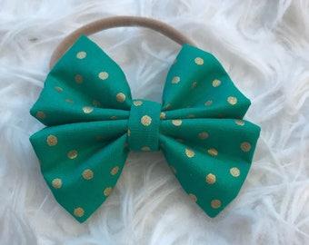 Green and Gold Polkadots Bow Headband and Mini Bow Headband