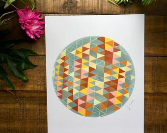 Abstract art print, triangle, circle, orange, gray  watercolor painting, illustrated,  archival,  design