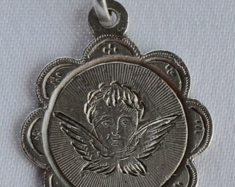 Angel Guardian - French Antique Religious Sterling Silver Medal Pendant Charm - Birth Communion Medal Dated 22 Nov 1906 - Monogram MI