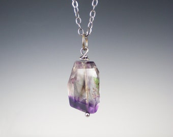 Moss Amethyst Gemstone Necklace Wire Wrapped Faceted Rough Gemstone Jewelry