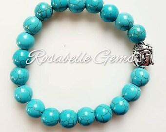 Turquoise Bracelet, Turquoise Jewellery, December Birthstone, December Birthday, Birthday Gift, Boho Jewelry, Chunky Bracelet, Crystal, Gift