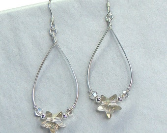 Catch-a-Star Celestial Earrings - Swarovski Champagne Crystal Stars, Sterling Silver Wire, Sterling Silver Beads, Sterling Silver Earwires