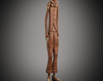 American Folk Art carved wood tall thin man figure 15 1/2""