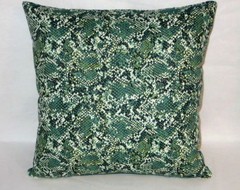 "Green Snake Skin Print Pillow Cover, Trompe L'Oeil Reptile, 17"" Square Cotton, Zipper Cover Only, Ready to Ship, Dorm Decor"