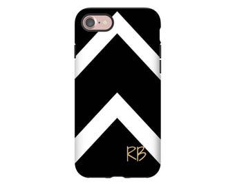 Black and White iPhone 7 case, chevron iPhone X case, iPhone 8 Plus/7 Plus case, monogram iPhone 8 case, iPhone 6s/6s Plus, iPhone 6/6 Plus
