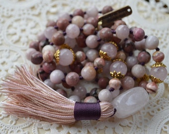 108 Energized 8mm Genuine Kunzite, Rose Quartz, Rhodonite & Rhodochrosite  Mala Beads Necklace,Heart Chakra Mala, heals emotions, stress