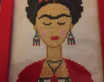 Frida Kahlo Completed Cross Stitch