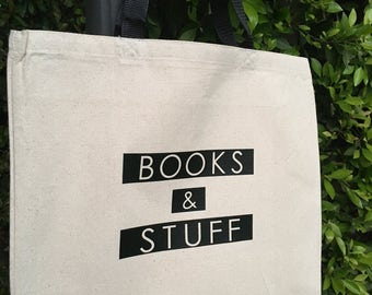 Books & Stuff Canvas Market Tote Bag
