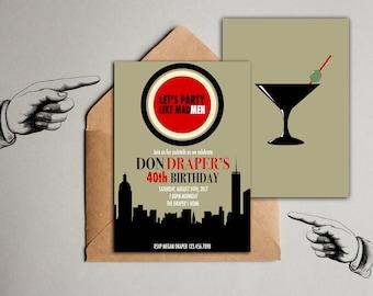 Mad Men Party Invitation, 1960's Birthday Invitation, Mad Men Inspired Party Invitation, 60's Birthday Invitation