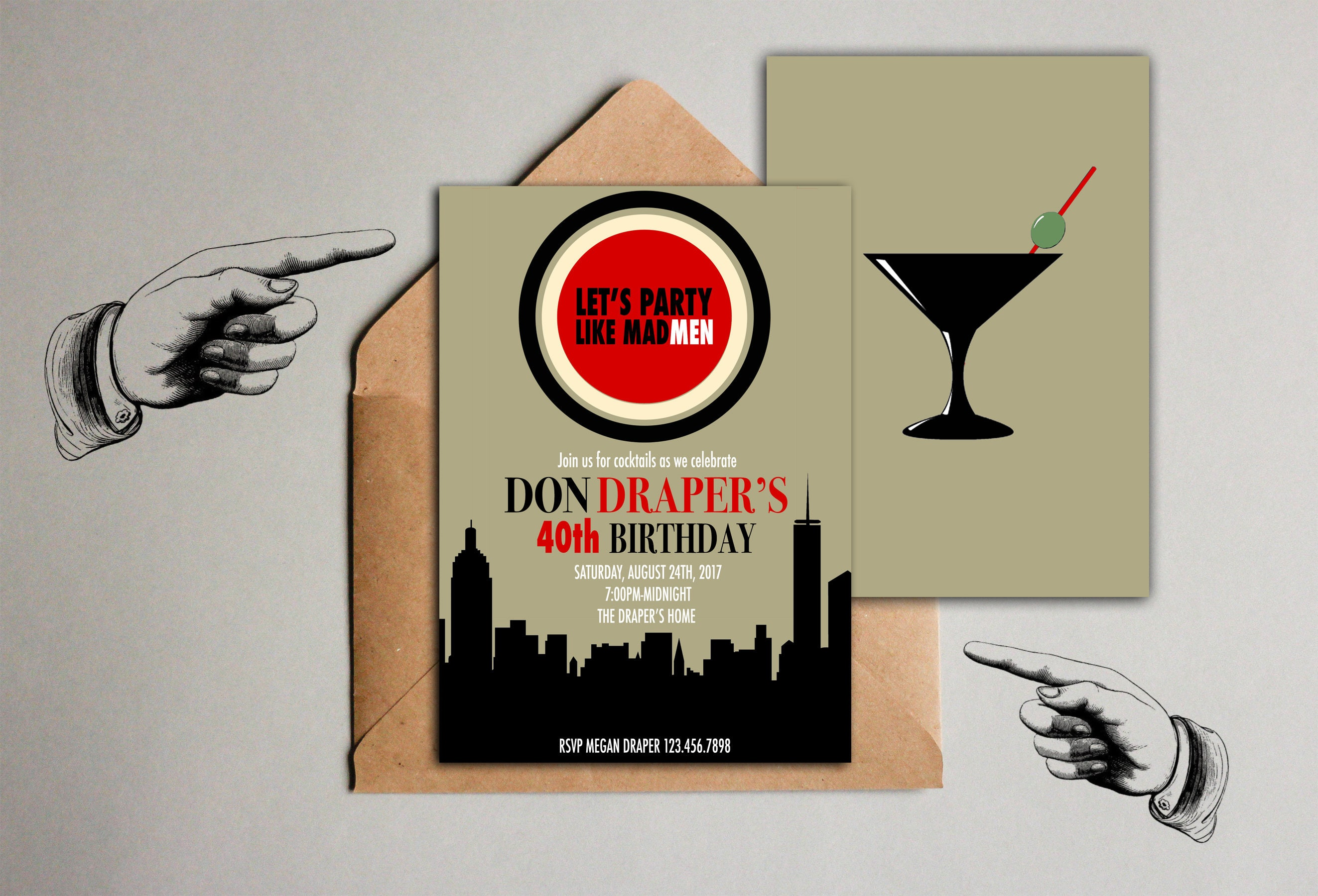 Mad Men Party Invitation 1960\'s Birthday Invitation Mad