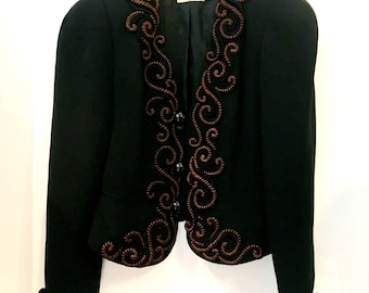 Embroidered black evening jacket