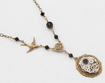 Steampunk Necklace Vintage Silver Watch Movement with Gold Bird Charm, Black Crystal Beads, Filigree & Ruby Swarovski Crystal Jewelry Gift