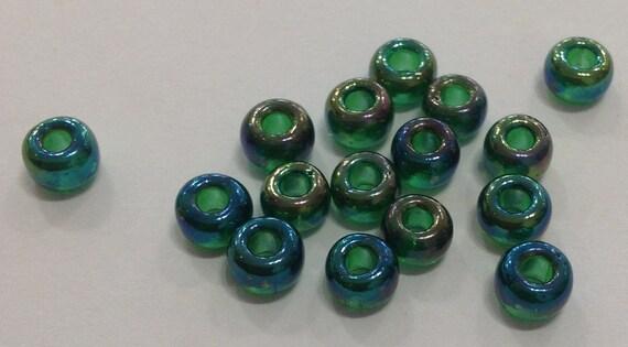 Miyuki size 5/0 seed beads transparent green AB 20g