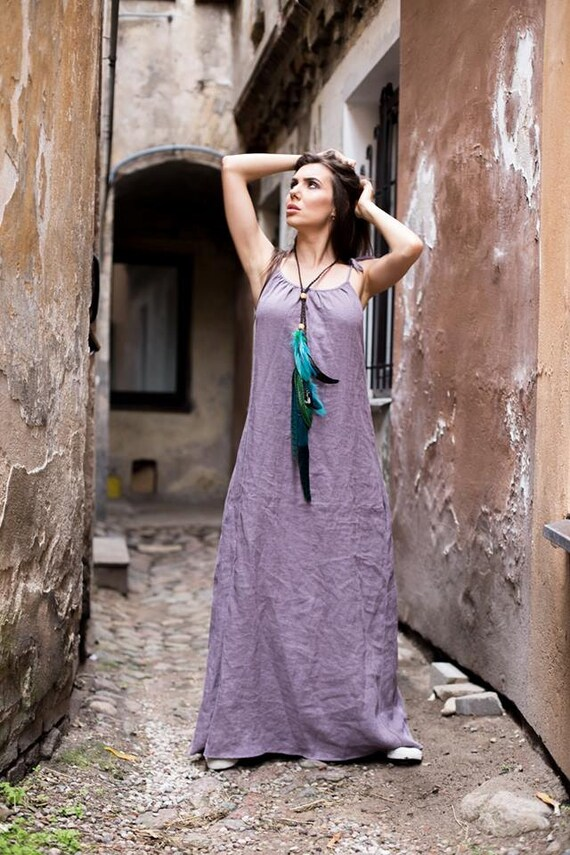Long dress dress Adjustable Festival Boho dress dress Softened dress purple lilac linen linen Purple quality dress Straps High 5qwdCpXW