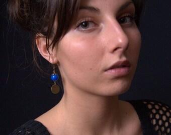 Earrings - bronze earrings - Blue Pearl glass beads dangling earrings - dangle earrings