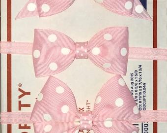 pink polka dot headband, baby bow headband, pink baby headband, pink and white baby headband, newborn headband, premie headband polkadot bow