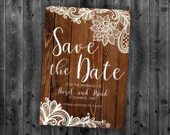 Rustic Lace Save the Date Cards, Save The Date Postcard, Wood, Country Save the Date, Engagement Card, Country Wedding Save The Date Card
