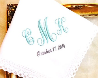 Wedding Monogrammed Handkerchief  for Bride - Weddings - Wedding Date - Monogram - Hanky Hankie Handkerchief for Bride