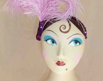 Handmade Lavender Lady Double Bent Ostrich Feather Headpiece with Purple Sequins Detailing