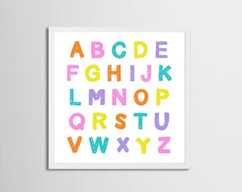 Alphabet Art Printable Candy Colors, Nursery Art Girl , Playroom Wall Art Alphabet, Letters Printable, Toddler Room Artwork Pink Purple Art