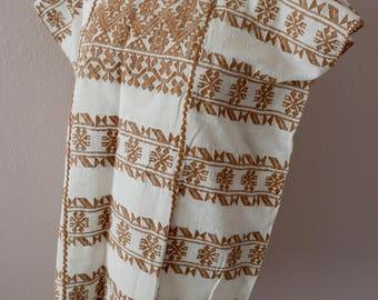 "Mexican huipil handwoven white + coyuchi brown Amuzgos Oaxaca boho resort Frida Kahlo medium 23""W x 28""L"