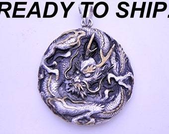 DRAGON Pendant Hand Made in sterling silver with Yellow diamonds and 24K gold accents.