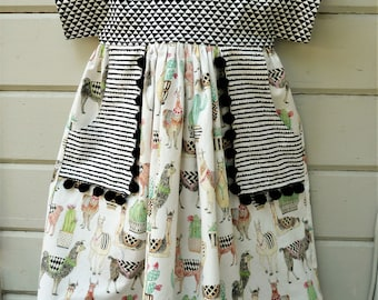 Llama Luna Dress available in white or mint llama fabric by special order in sizes 2T to 10