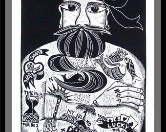 linocut, Tattoodles, black and white art, tattoo print, sailor print, full beard art, gift for him, sailing, boating, ocean, seaside, beach