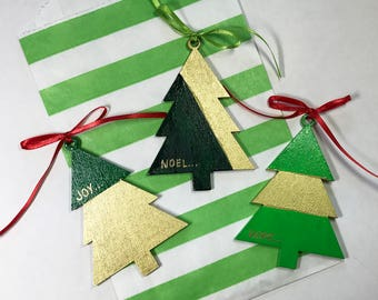 Joy-Hope-Noel Personalized Wood Ornaments - Green and Gold Leaf with Gift Bag - Jody Designs