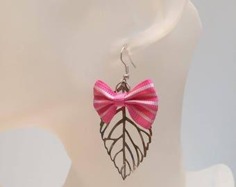 Pink leaf bow charm earrings