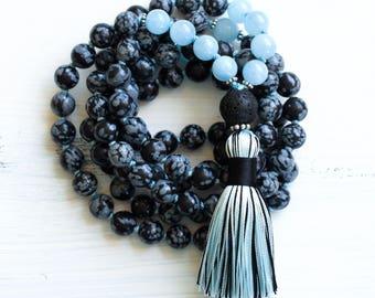 Snowflake Obsidian Mala Beads 108, Aquamarine Mala Necklace, Japa Mala Prayer Beads, Tassel Necklace, Yoga Jewelry